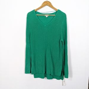 Style & Co Green Flare Sleeve Tunic Sweater